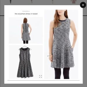 Madewell Anywhere Leather Tweed Fit Flare Dress 2